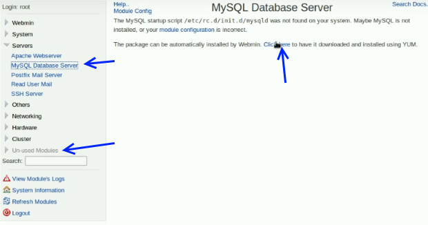 Install and Configure MySQL Databases using Webmin