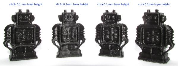 robots printed using cura and slic3r