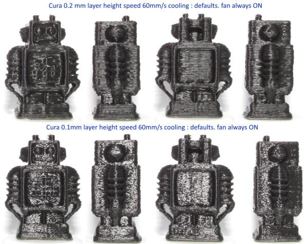 robots printed using cura
