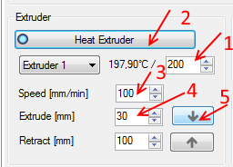 extrude filament using Repetier-Host