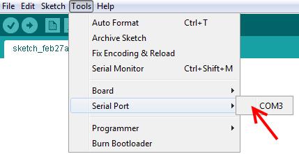 arduino set COM port