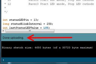 arduino done uploading
