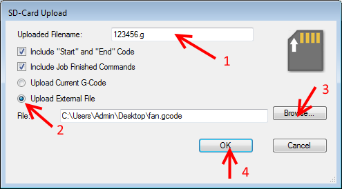 Copying files from SD card using repetier host