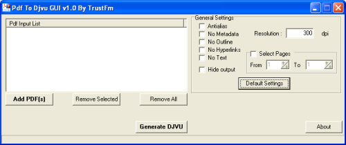 Pdf To Djvu GUI full screenshot