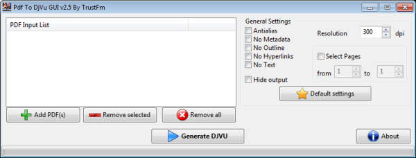 Click to view PDF To DjVu GUI screenshots
