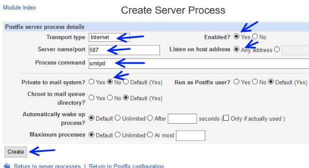 postfix create process