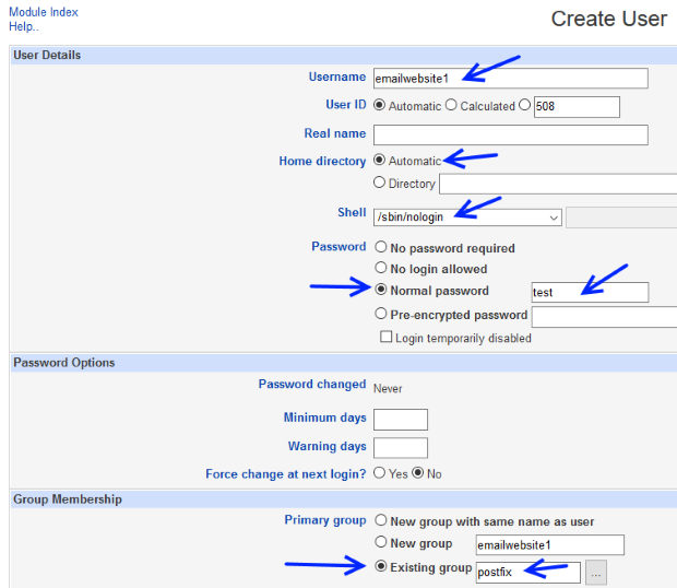 Create new email accounts using Webmin and Postfix